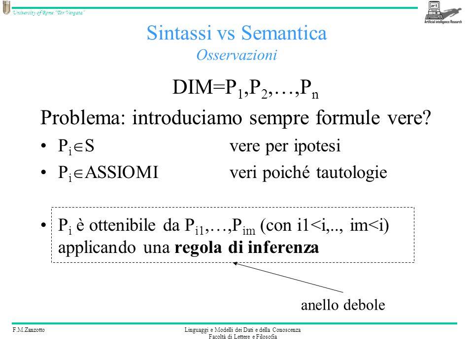 F.M.ZanzottoLinguaggi e Modelli dei Dati e della Conoscenza Facoltà di Lettere e Filosofia University of Rome Tor Vergata DIM=P 1,P 2,…,P n Problema: