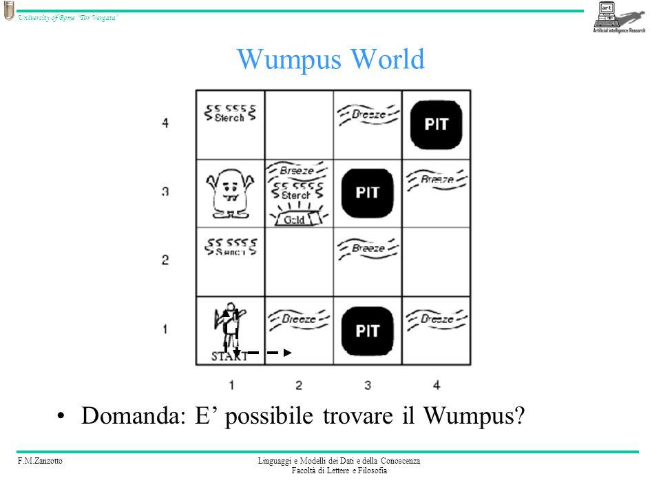 F.M.ZanzottoLinguaggi e Modelli dei Dati e della Conoscenza Facoltà di Lettere e Filosofia University of Rome Tor Vergata Wumpus World Domanda: E poss