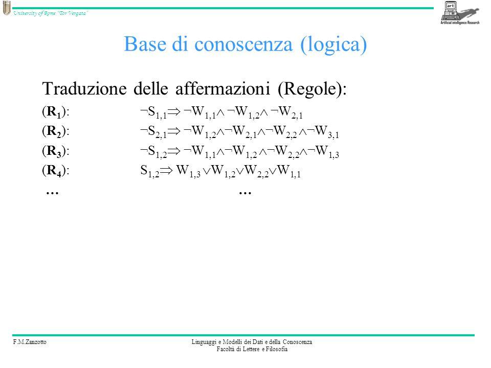 F.M.ZanzottoLinguaggi e Modelli dei Dati e della Conoscenza Facoltà di Lettere e Filosofia University of Rome Tor Vergata Base di conoscenza (logica)