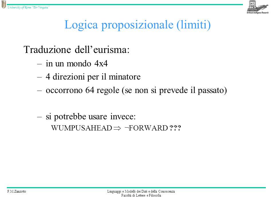 F.M.ZanzottoLinguaggi e Modelli dei Dati e della Conoscenza Facoltà di Lettere e Filosofia University of Rome Tor Vergata Logica proposizionale (limit