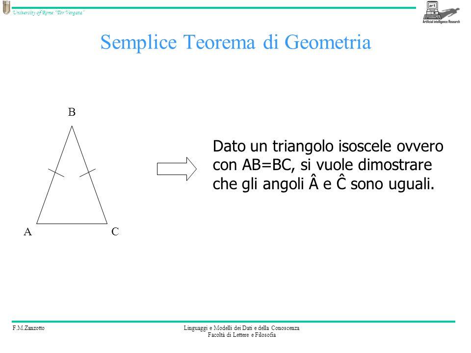 F.M.ZanzottoLinguaggi e Modelli dei Dati e della Conoscenza Facoltà di Lettere e Filosofia University of Rome Tor Vergata Semplice Teorema: conoscenze pregresse Se due triangoli sono uguali, i due triangoli hanno lati ed angoli uguali (A) Se due triangoli hanno due lati e langolo sotteso uguali, allora i due triangoli sono uguali (T) AC B