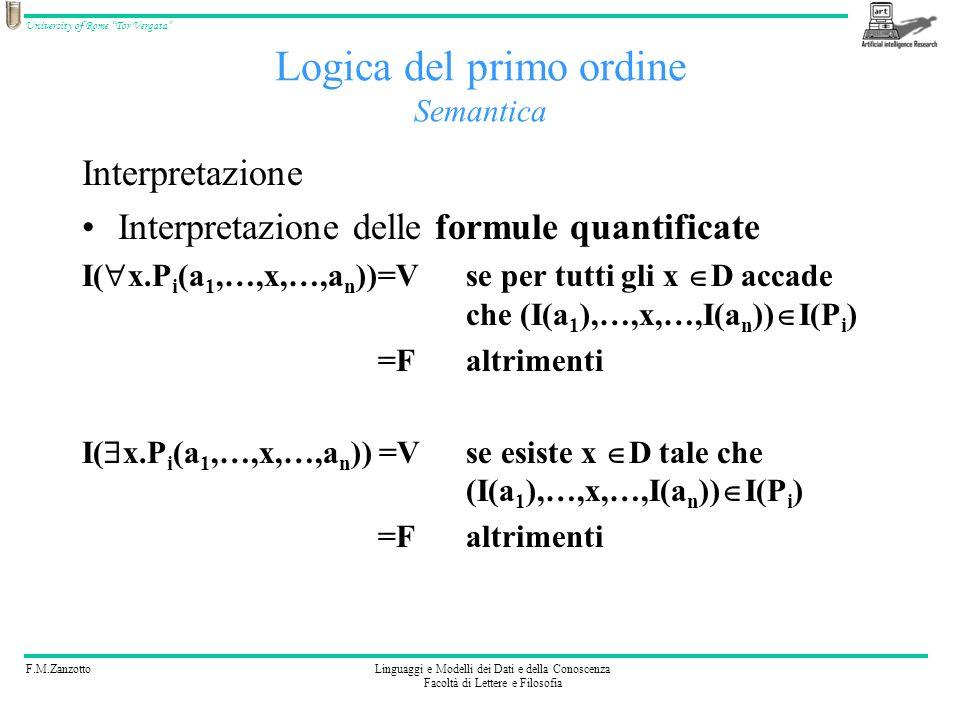 F.M.ZanzottoLinguaggi e Modelli dei Dati e della Conoscenza Facoltà di Lettere e Filosofia University of Rome Tor Vergata Logica del primo ordine Sema