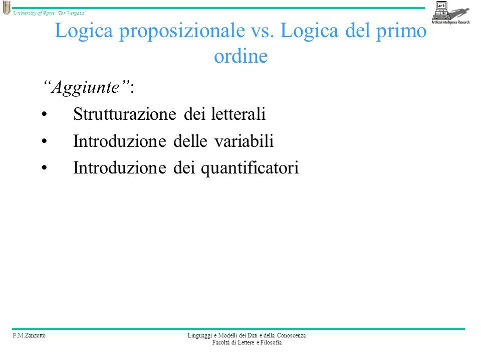 F.M.ZanzottoLinguaggi e Modelli dei Dati e della Conoscenza Facoltà di Lettere e Filosofia University of Rome Tor Vergata Logica proposizionale vs. Lo