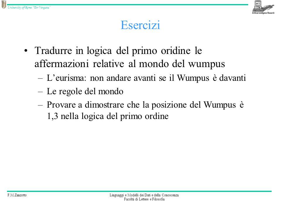 F.M.ZanzottoLinguaggi e Modelli dei Dati e della Conoscenza Facoltà di Lettere e Filosofia University of Rome Tor Vergata Esercizi Tradurre in logica
