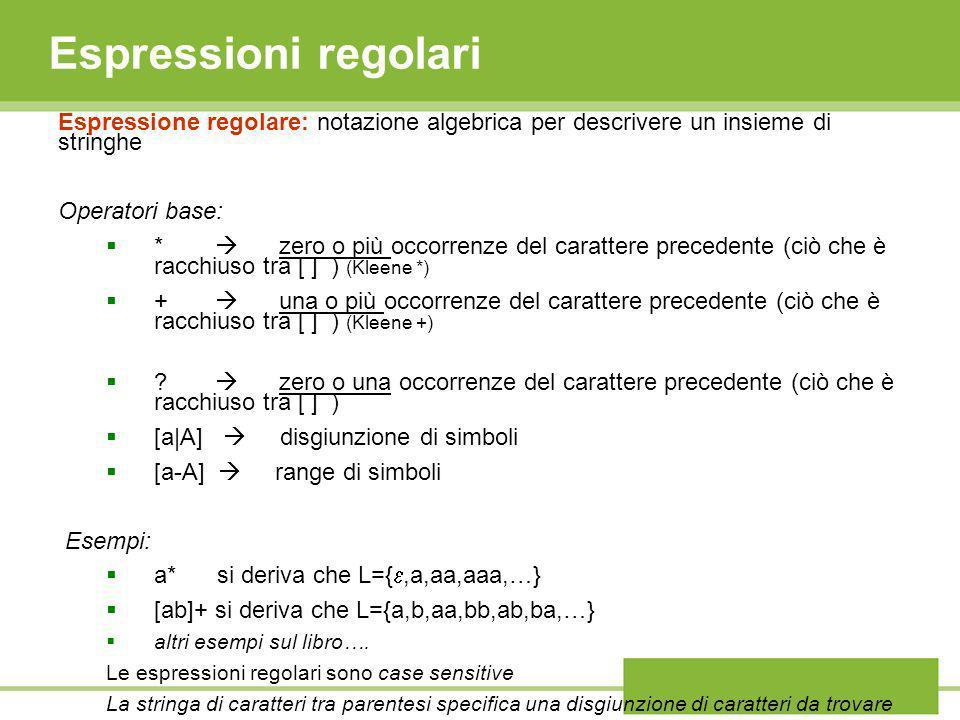 Espressioni regolari Espressione regolare: notazione algebrica per descrivere un insieme di stringhe Operatori base: * zero o più occorrenze del carat