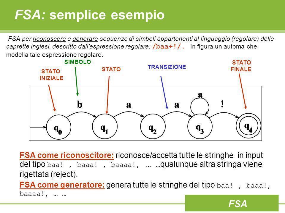 FSA: semplice esempio FSA per riconoscere e generare sequenze di simboli appartenenti al linguaggio (regolare) delle caprette inglesi, descritto dalle