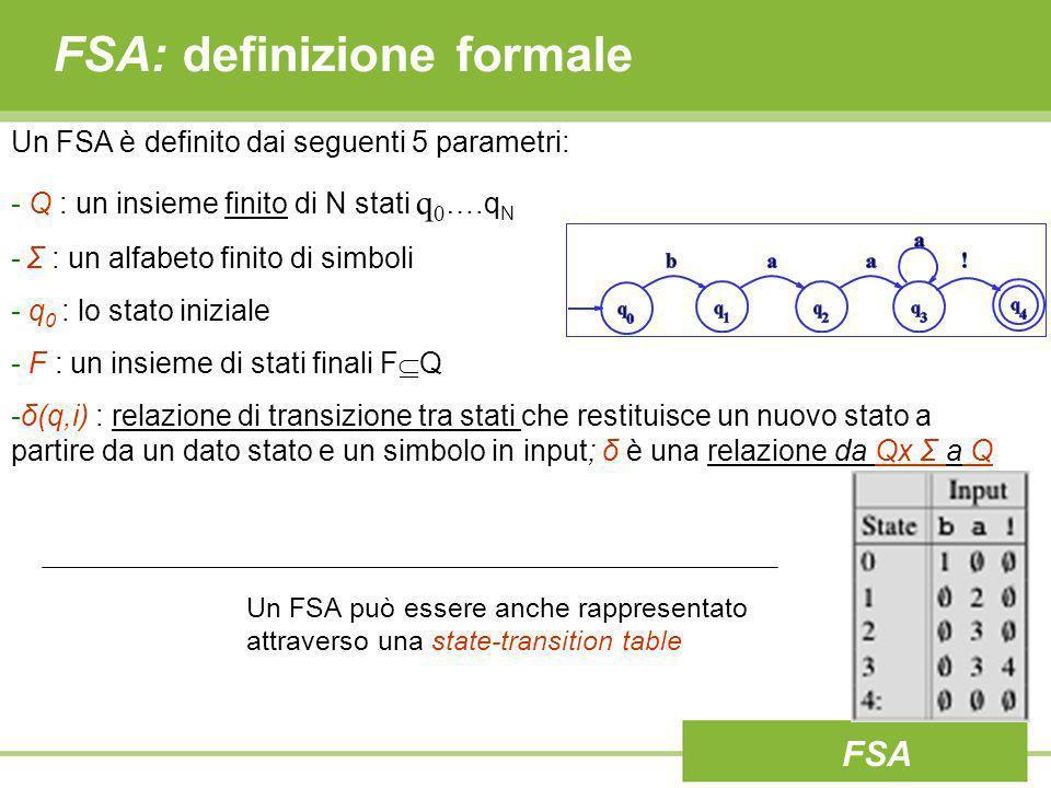 FSA: definizione formale Un FSA è definito dai seguenti 5 parametri: - Q : un insieme finito di N stati q 0 ….q N - Σ : un alfabeto finito di simboli