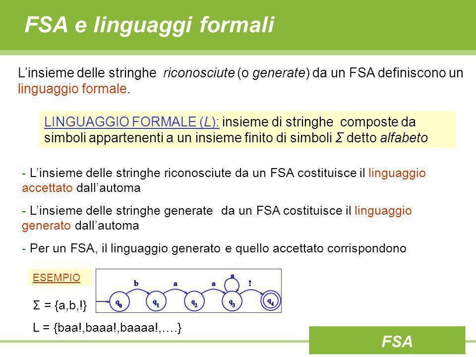 FSA e linguaggi formali Linsieme delle stringhe riconosciute (o generate) da un FSA definiscono un linguaggio formale. - Linsieme delle stringhe ricon