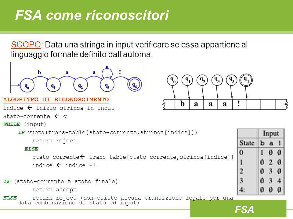 FSA come riconoscitori SCOPO: Data una stringa in input verificare se essa appartiene al linguaggio formale definito dallautoma. ALGORITMO DI RICONOSC