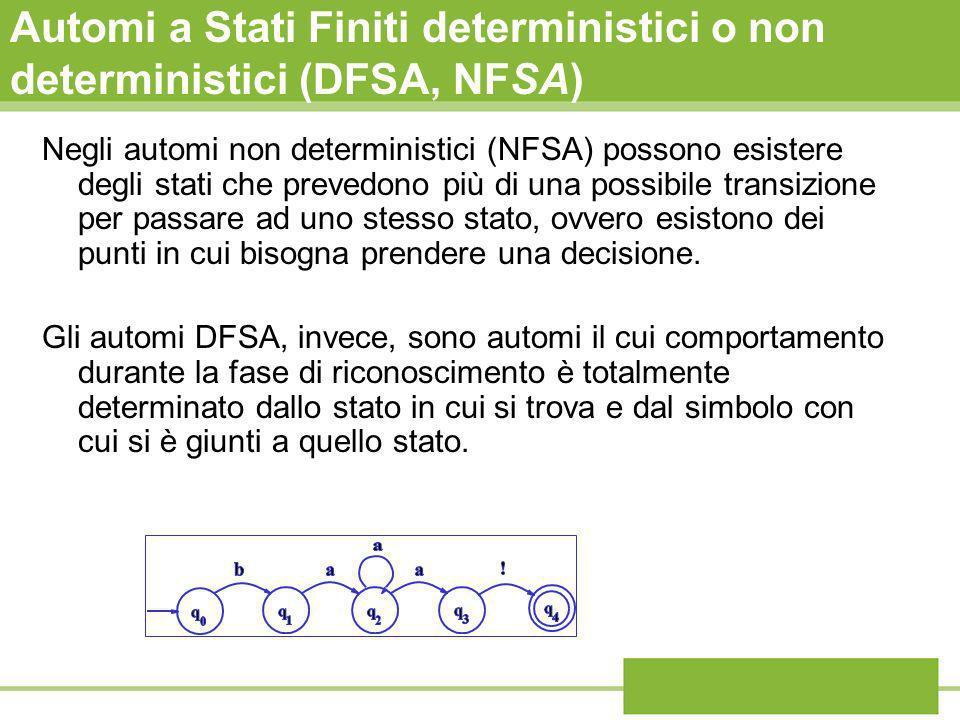 Automi a Stati Finiti deterministici o non deterministici (DFSA, NFSA) Negli automi non deterministici (NFSA) possono esistere degli stati che prevedo