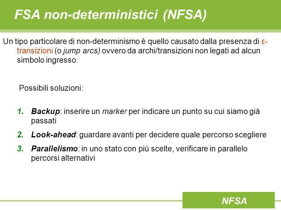 FSA non-deterministici (NFSA) Un tipo particolare di non-determinismo è quello causato dalla presenza di ε- transizioni (o jump arcs) ovvero da archi/