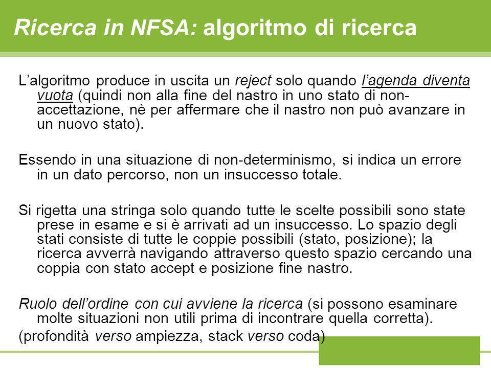 Ricerca in NFSA: algoritmo di ricerca Lalgoritmo produce in uscita un reject solo quando lagenda diventa vuota (quindi non alla fine del nastro in uno