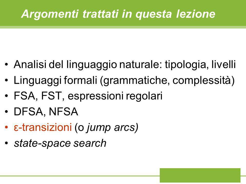 Argomenti trattati in questa lezione Analisi del linguaggio naturale: tipologia, livelli Linguaggi formali (grammatiche, complessità) FSA, FST, espres