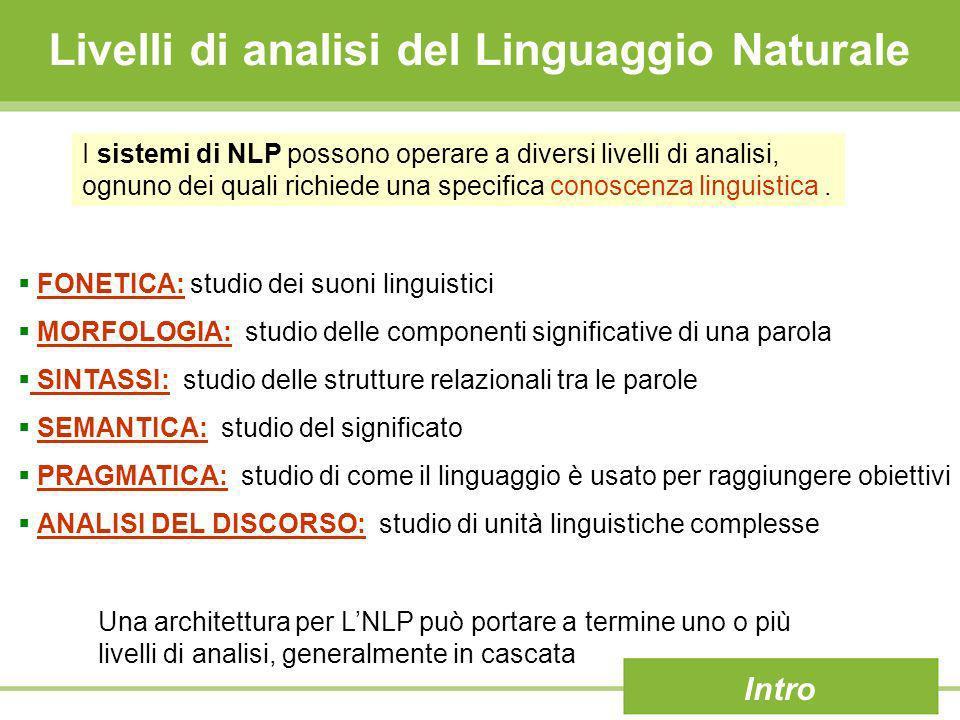 Livelli di analisi del Linguaggio Naturale FONETICA: studio dei suoni linguistici MORFOLOGIA: studio delle componenti significative di una parola SINT