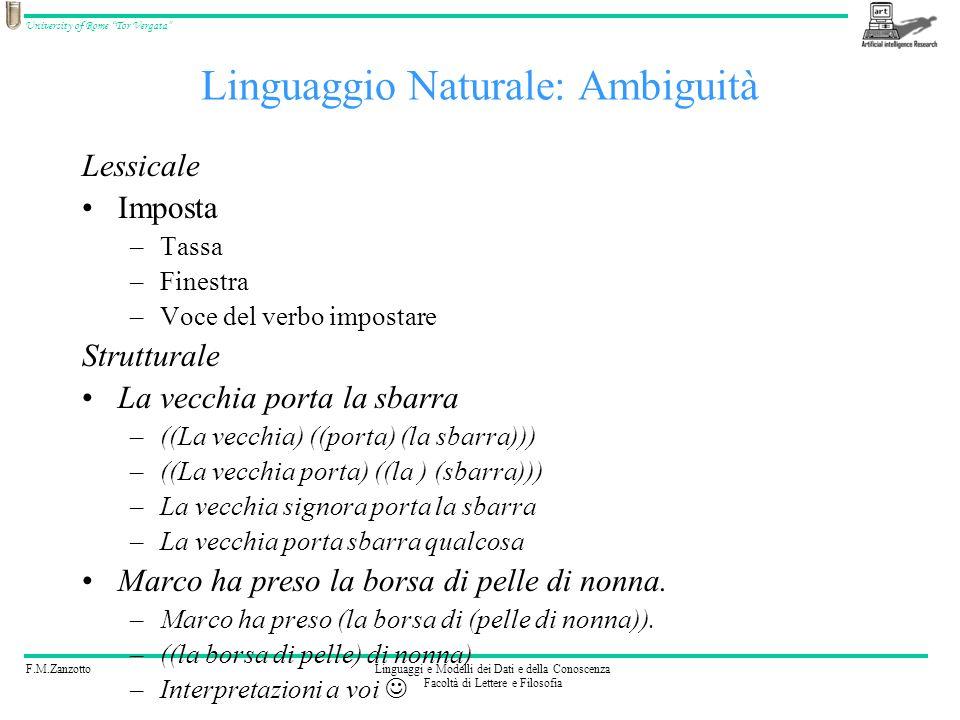 F.M.ZanzottoLinguaggi e Modelli dei Dati e della Conoscenza Facoltà di Lettere e Filosofia University of Rome Tor Vergata Linguaggio Naturale: Ambigui
