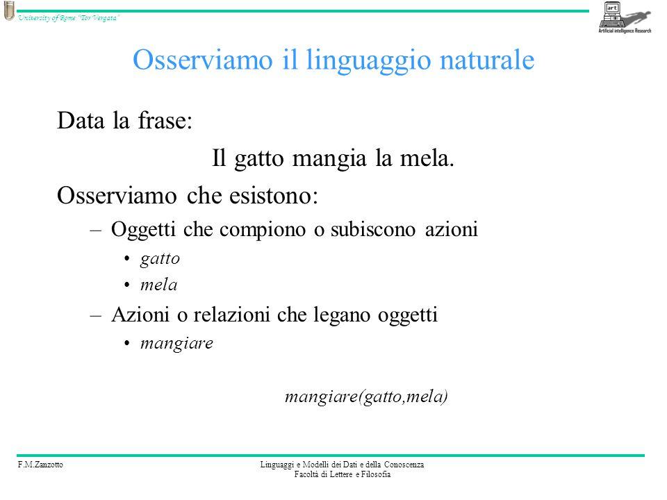 F.M.ZanzottoLinguaggi e Modelli dei Dati e della Conoscenza Facoltà di Lettere e Filosofia University of Rome Tor Vergata Osserviamo il linguaggio nat