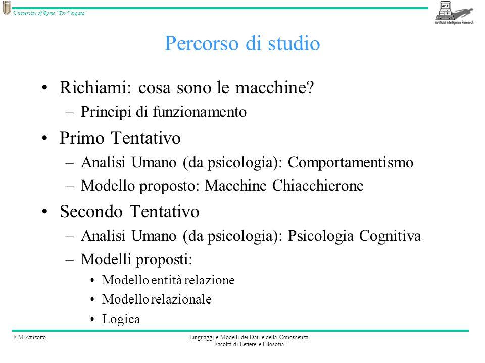 F.M.ZanzottoLinguaggi e Modelli dei Dati e della Conoscenza Facoltà di Lettere e Filosofia University of Rome Tor Vergata Percorso di studio Richiami: