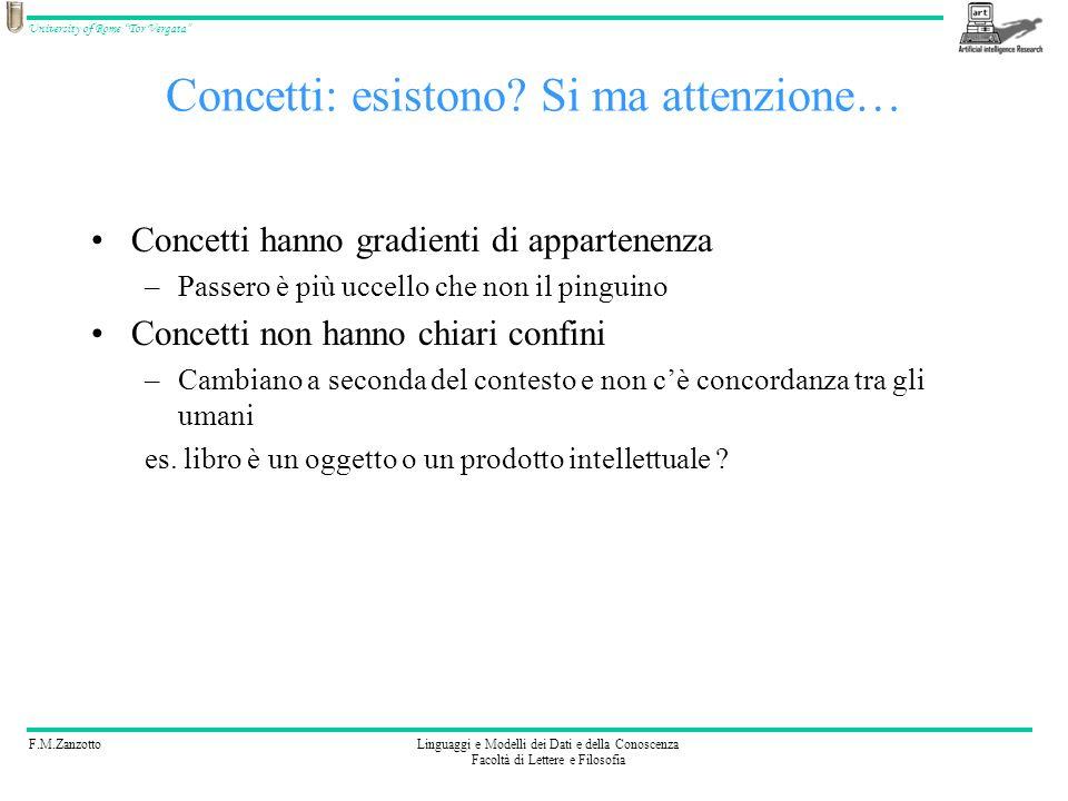 F.M.ZanzottoLinguaggi e Modelli dei Dati e della Conoscenza Facoltà di Lettere e Filosofia University of Rome Tor Vergata Concetti: esistono? Si ma at
