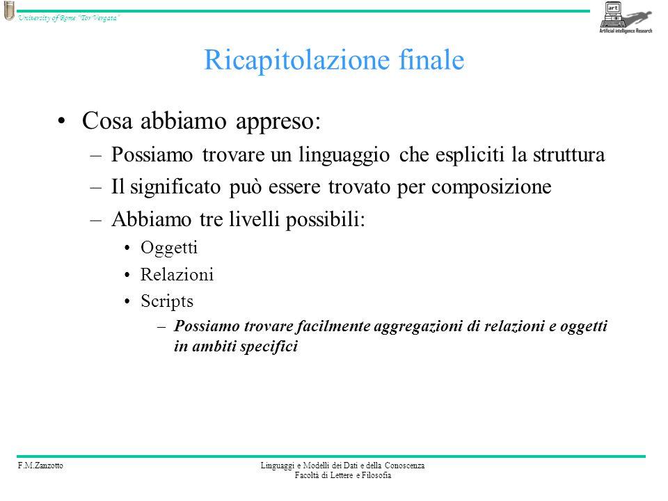 F.M.ZanzottoLinguaggi e Modelli dei Dati e della Conoscenza Facoltà di Lettere e Filosofia University of Rome Tor Vergata Ricapitolazione finale Cosa