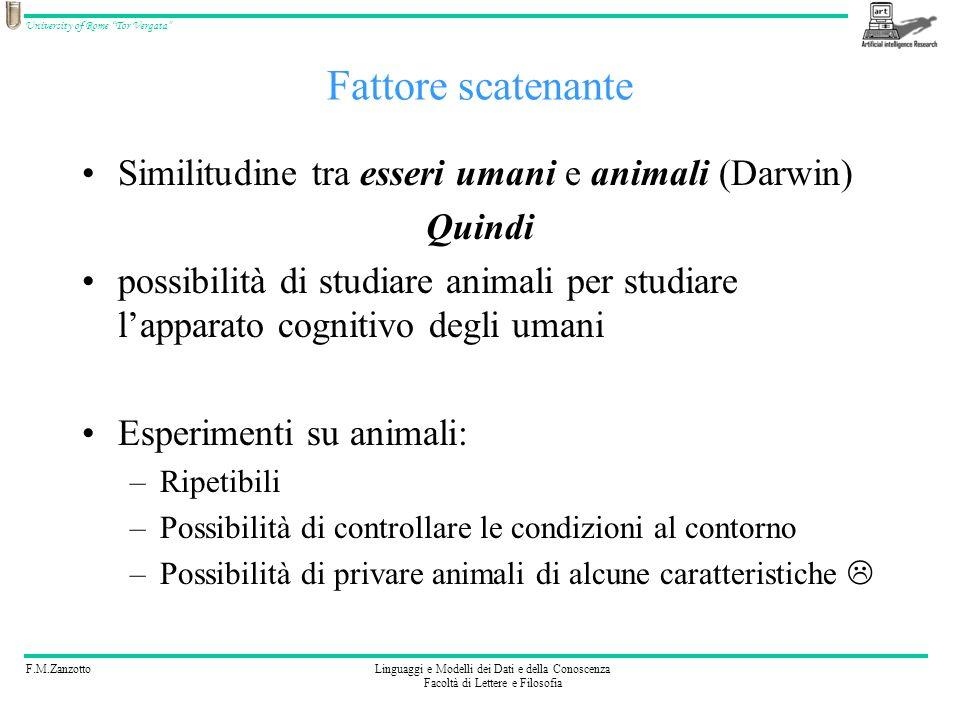 F.M.ZanzottoLinguaggi e Modelli dei Dati e della Conoscenza Facoltà di Lettere e Filosofia University of Rome Tor Vergata Modello principe Dato un essere vivente nel mondo animale, cosa è possibile vedere.