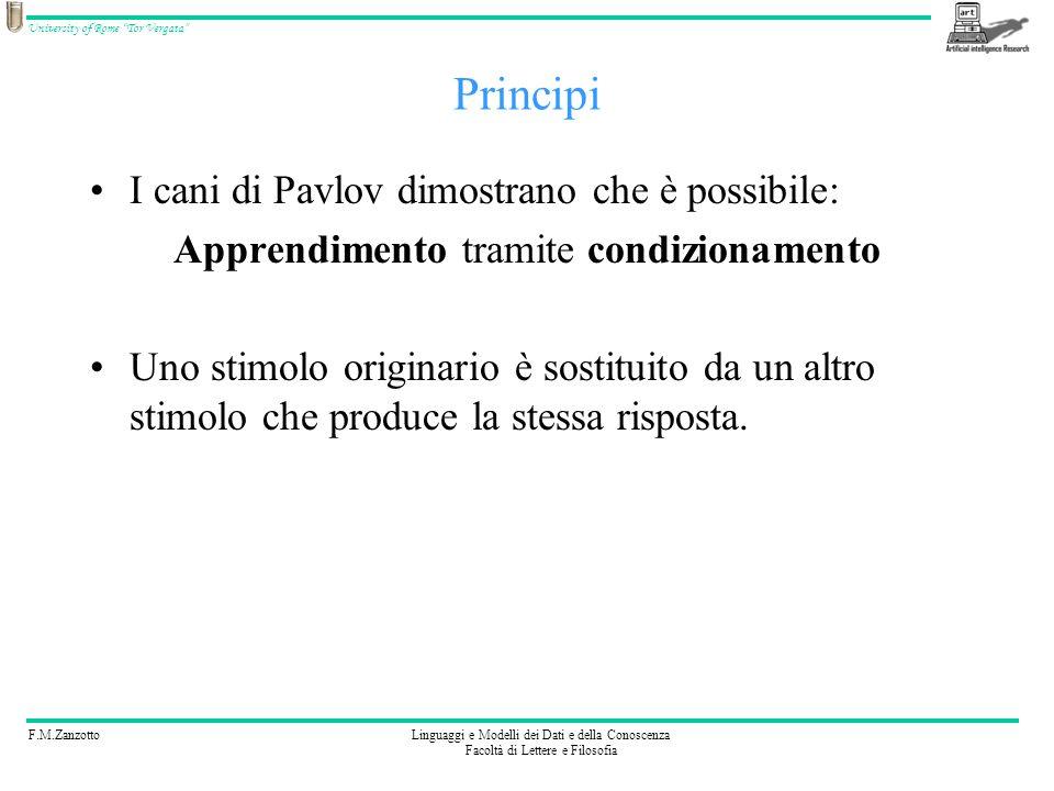 F.M.ZanzottoLinguaggi e Modelli dei Dati e della Conoscenza Facoltà di Lettere e Filosofia University of Rome Tor Vergata Esperimento: Cani di Pavlov