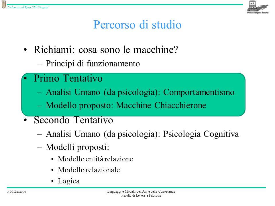F.M.ZanzottoLinguaggi e Modelli dei Dati e della Conoscenza Facoltà di Lettere e Filosofia University of Rome Tor Vergata Percorso di studio Richiami: cosa sono le macchine.