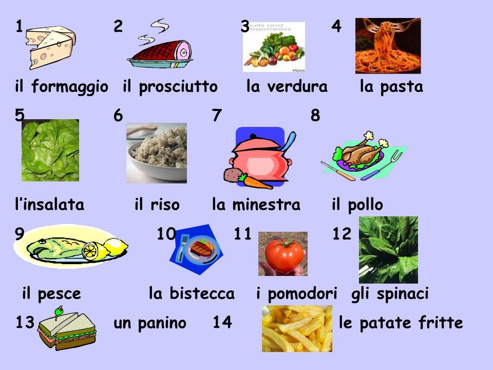 12 3 4 il formaggio il prosciutto la verdurala pasta 5678 linsalata il risola minestra il pollo 9 10 11 12 il pesce la bistecca i pomodori gli spinaci