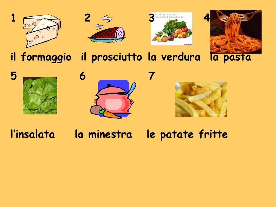 1 234 il formaggio il prosciutto la verdura la pasta 5 67 linsalata la minestra le patate fritte
