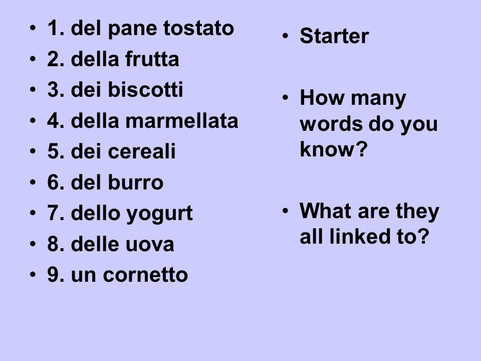 12 3 4 il formaggio il prosciutto la verdurala pasta 5678 linsalata il risola minestra il pollo 9 10 11 12 il pesce la bistecca i pomodori gli spinaci 13 un panino14 le patate fritte
