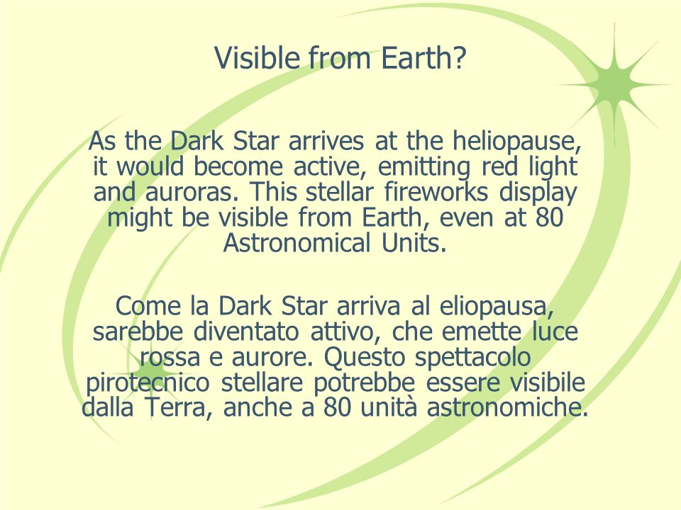 Visible from Earth.