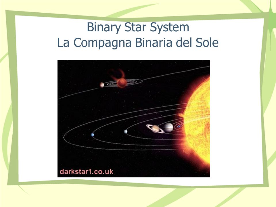 Binary Star System La Compagna Binaria del Sole