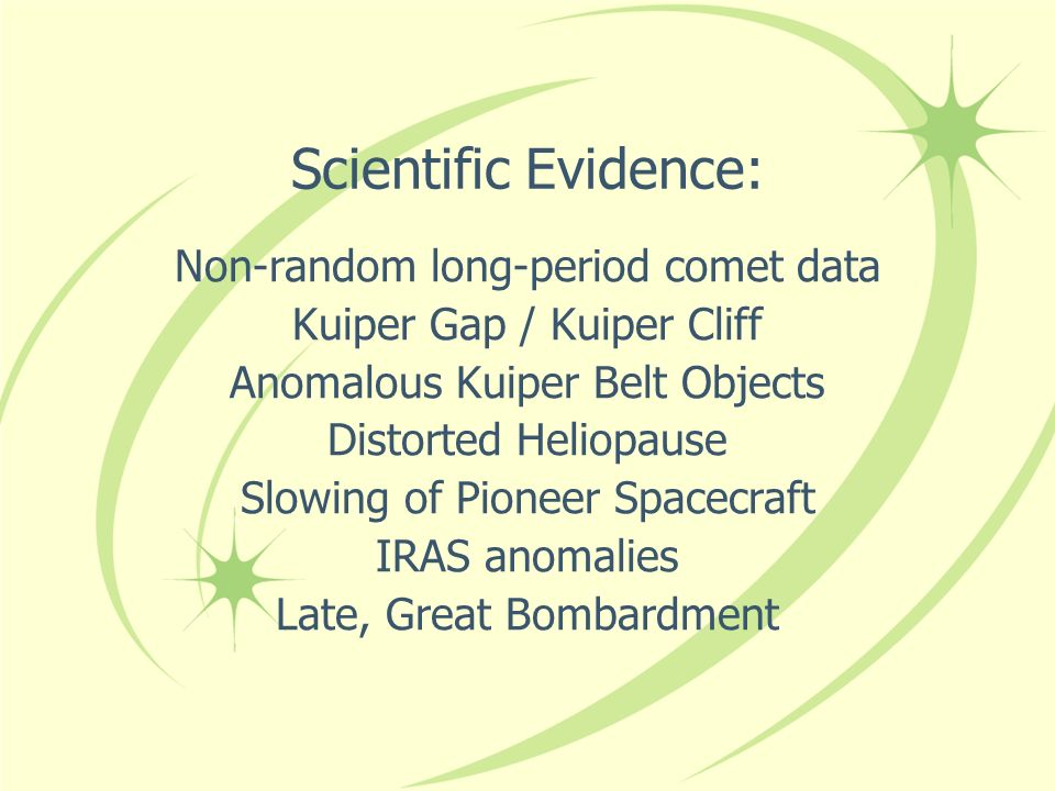Scientific Evidence: Non-random long-period comet data Kuiper Gap / Kuiper Cliff Anomalous Kuiper Belt Objects Distorted Heliopause Slowing of Pioneer