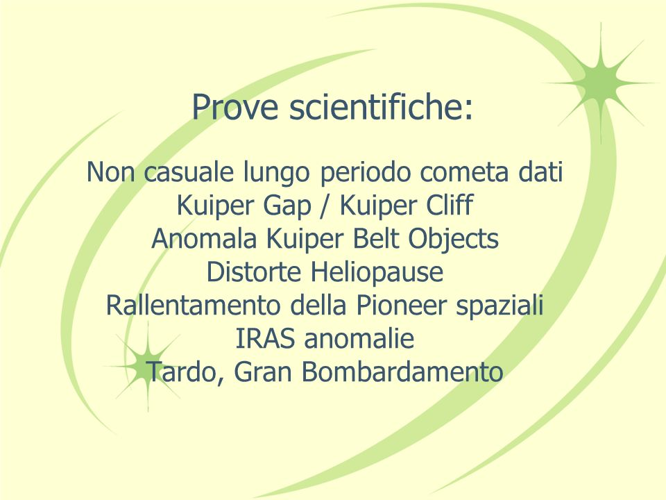 Prove scientifiche: Non casuale lungo periodo cometa dati Kuiper Gap / Kuiper Cliff Anomala Kuiper Belt Objects Distorte Heliopause Rallentamento dell