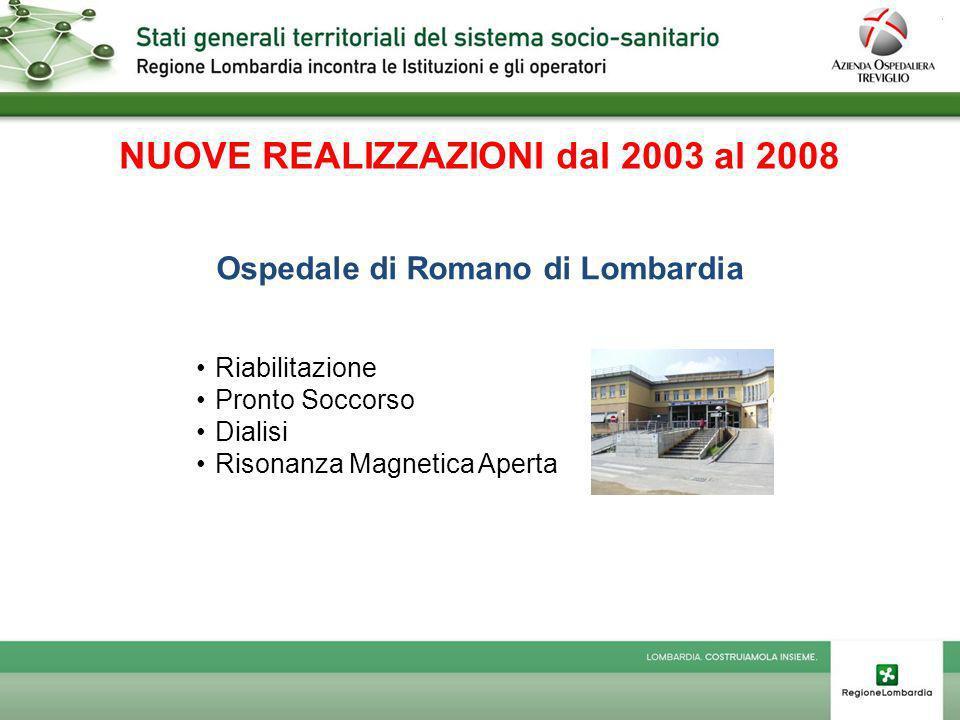 NUOVE REALIZZAZIONI dal 2003 al 2008 Ospedale di Romano di Lombardia Riabilitazione Pronto Soccorso Dialisi Risonanza Magnetica Aperta