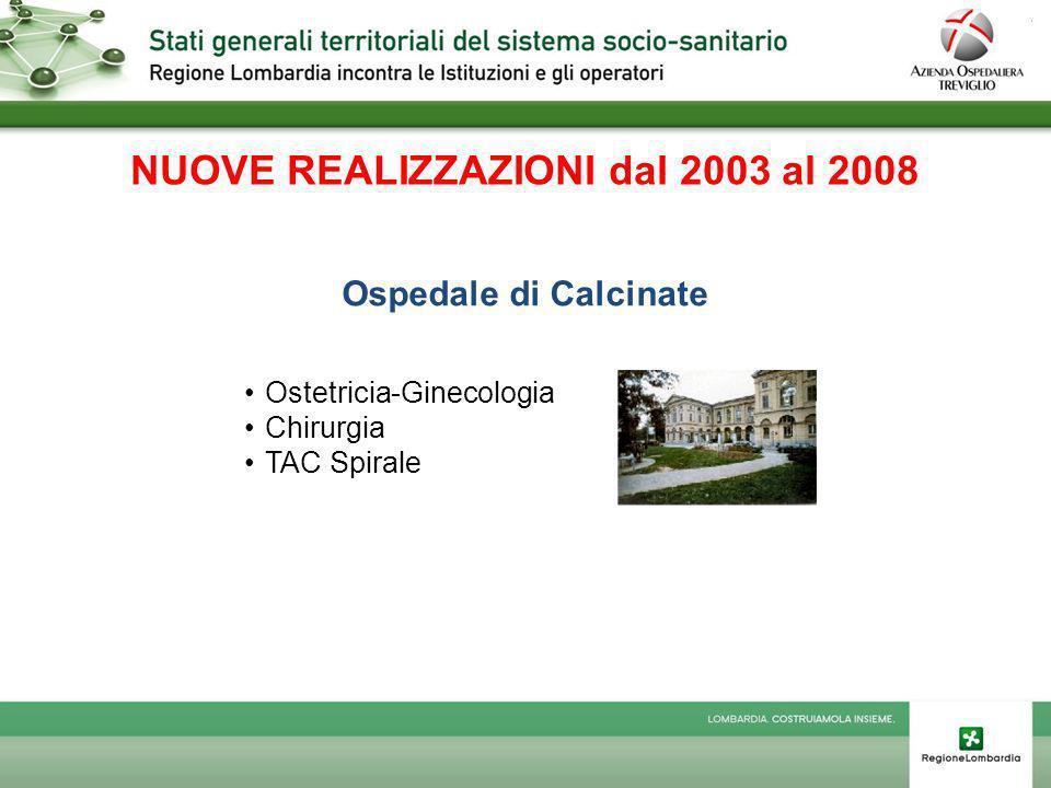 NUOVE REALIZZAZIONI dal 2003 al 2008 Ospedale di Calcinate Ostetricia-Ginecologia Chirurgia TAC Spirale