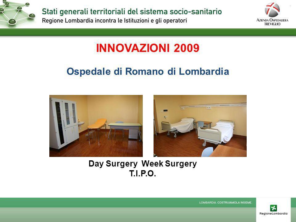 INNOVAZIONI 2009 Ospedale di Romano di Lombardia Day Surgery Week Surgery T.I.P.O.