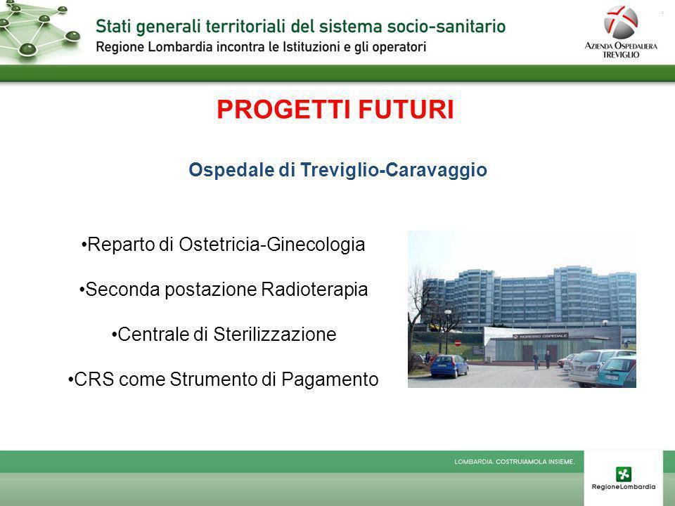 PROGETTI FUTURI Ospedale di Treviglio-Caravaggio Reparto di Ostetricia-Ginecologia Seconda postazione Radioterapia Centrale di Sterilizzazione CRS come Strumento di Pagamento