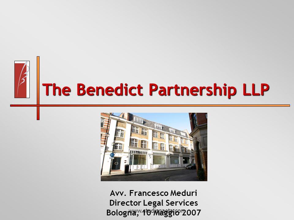 www.studiogaeta.com The Benedict Partnership LLP Avv. Francesco Meduri Director Legal Services Bologna, 10 Maggio 2007