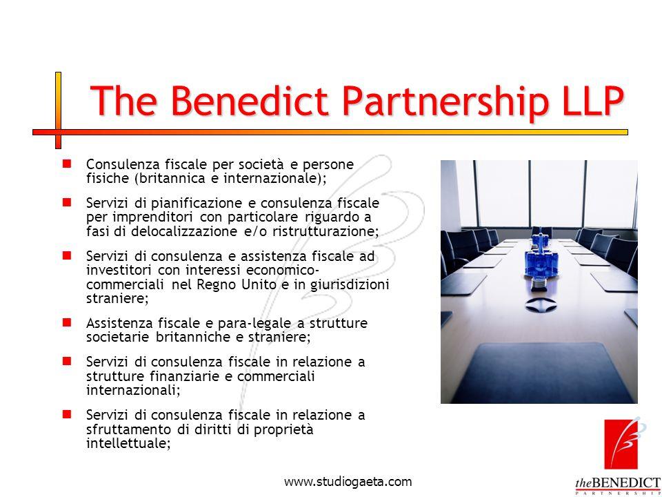 www.studiogaeta.com The Benedict Partnership LLP Consulenza fiscale per società e persone fisiche (britannica e internazionale); Servizi di pianificaz