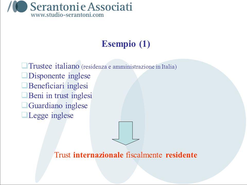 www.studiogaeta.com Esempio (1) Trustee italiano (residenza e amministrazione in Italia) Disponente inglese Beneficiari inglesi Beni in trust inglesi