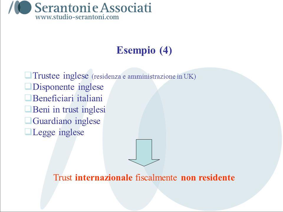 www.studiogaeta.com Esempio (4) Trustee inglese (residenza e amministrazione in UK) Disponente inglese Beneficiari italiani Beni in trust inglesi Guar