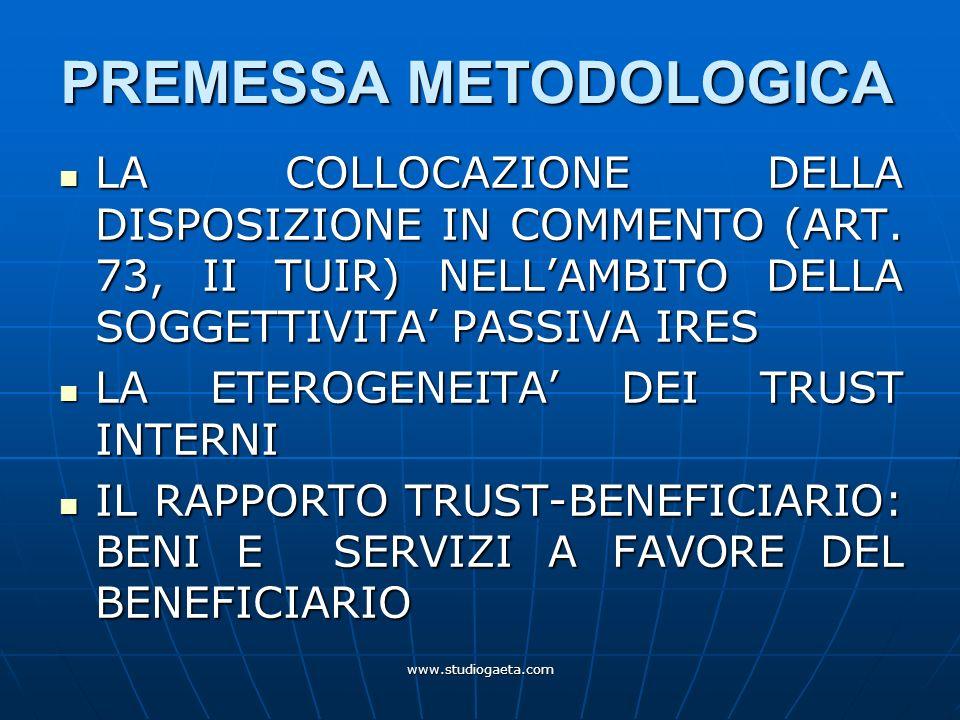 www.studiogaeta.com PREMESSA METODOLOGICA LA COLLOCAZIONE DELLA DISPOSIZIONE IN COMMENTO (ART. 73, II TUIR) NELLAMBITO DELLA SOGGETTIVITA PASSIVA IRES