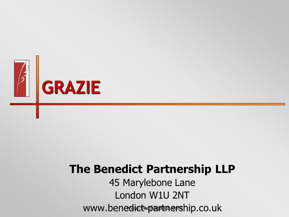 www.studiogaeta.com GRAZIE The Benedict Partnership LLP 45 Marylebone Lane London W1U 2NT www.benedict-partnership.co.uk