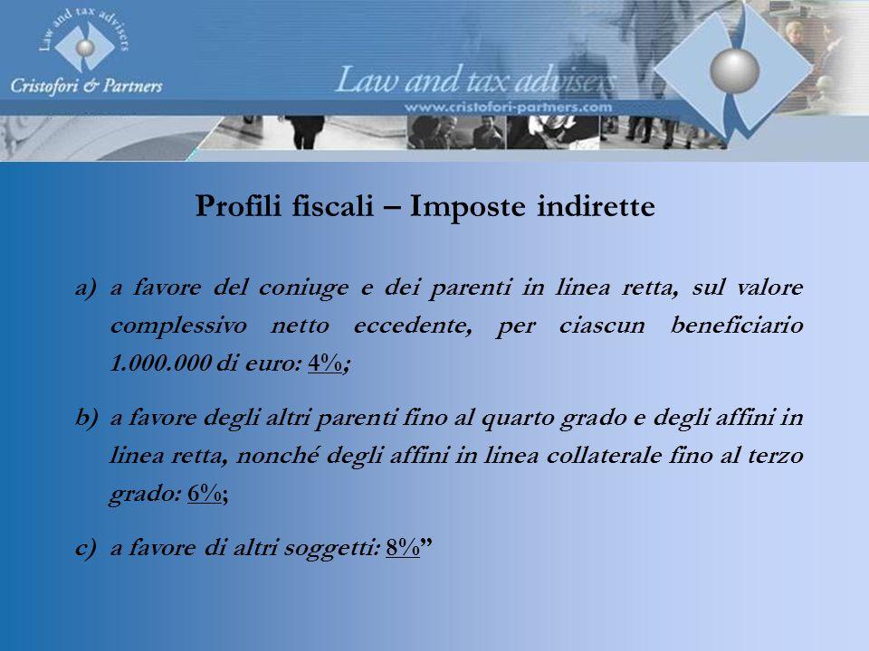 a)a favore del coniuge e dei parenti in linea retta, sul valore complessivo netto eccedente, per ciascun beneficiario 1.000.000 di euro: 4%; b)a favor