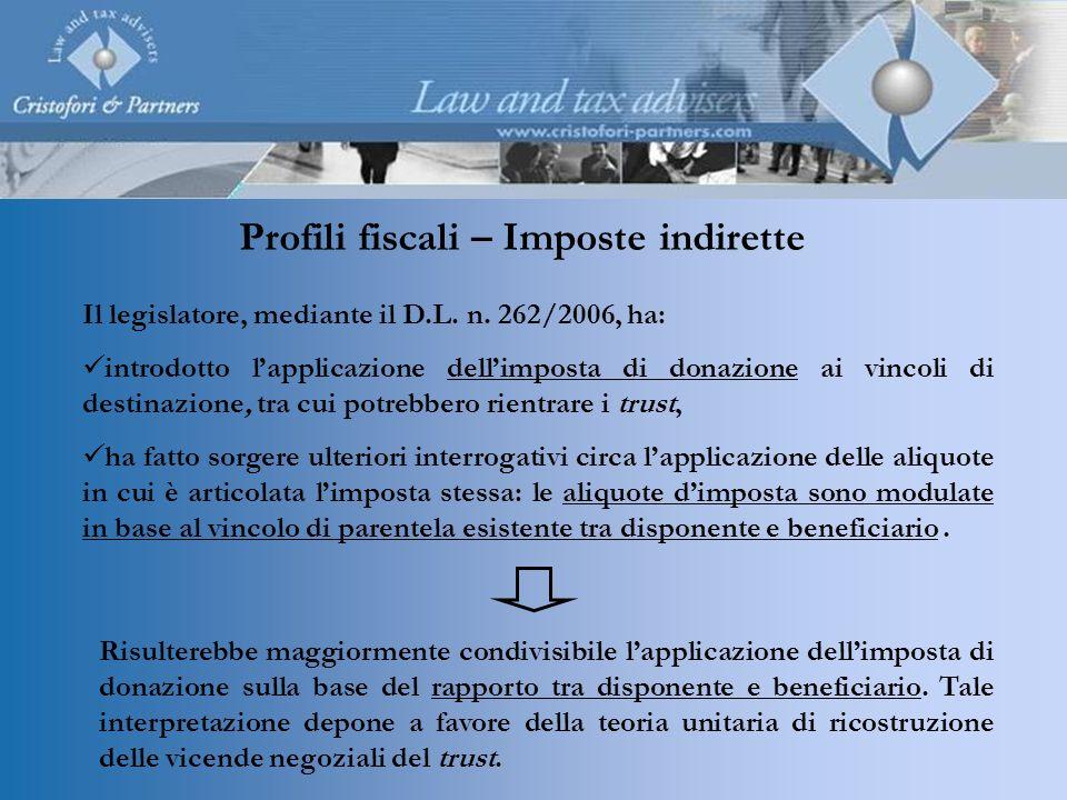 Profili fiscali – Imposte indirette Il legislatore, mediante il D.L. n. 262/2006, ha: introdotto lapplicazione dellimposta di donazione ai vincoli di