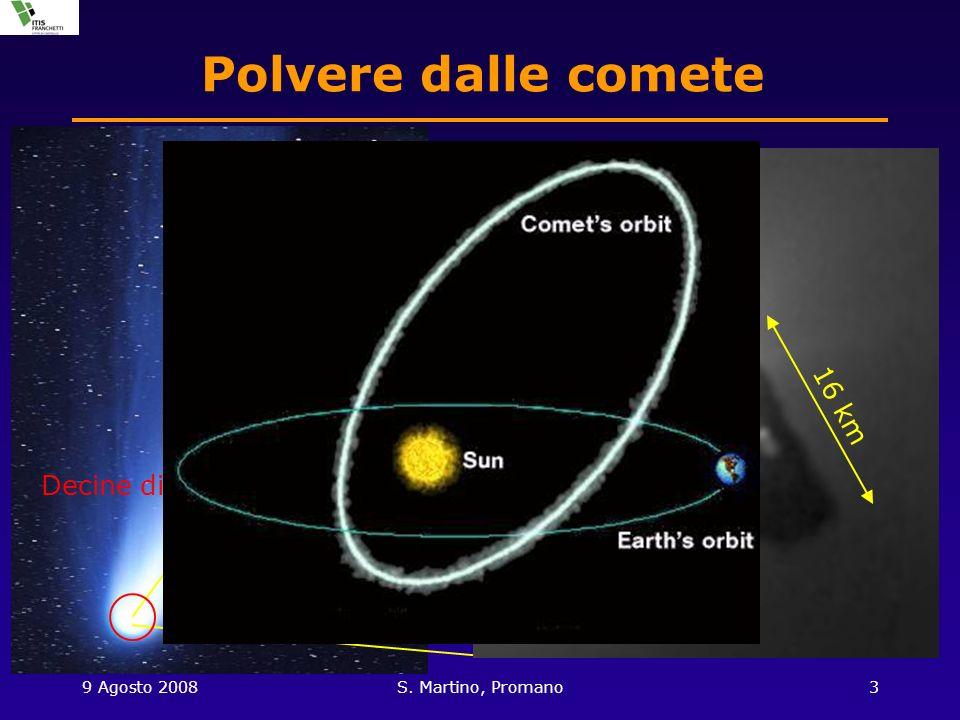 9 Agosto 2008S. Martino, Promano3 Polvere dalle comete 16 km Decine di volte la Terra…