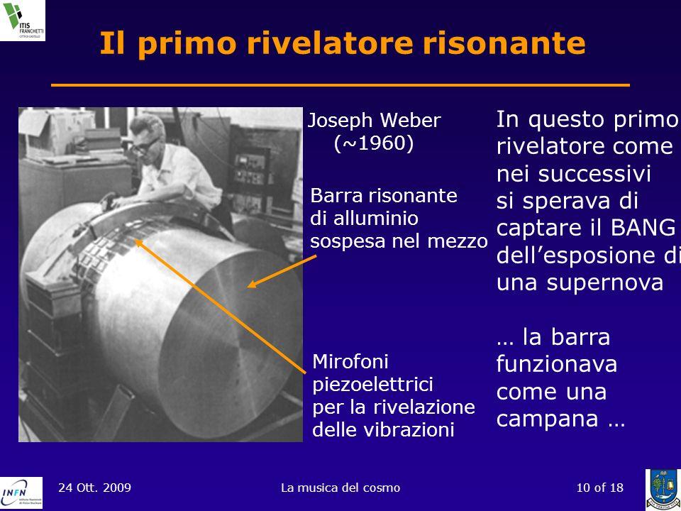 24 Ott. 2009La musica del cosmo10 of 18 Il primo rivelatore risonante Joseph Weber (~1960) Barra risonante di alluminio sospesa nel mezzo Mirofoni pie