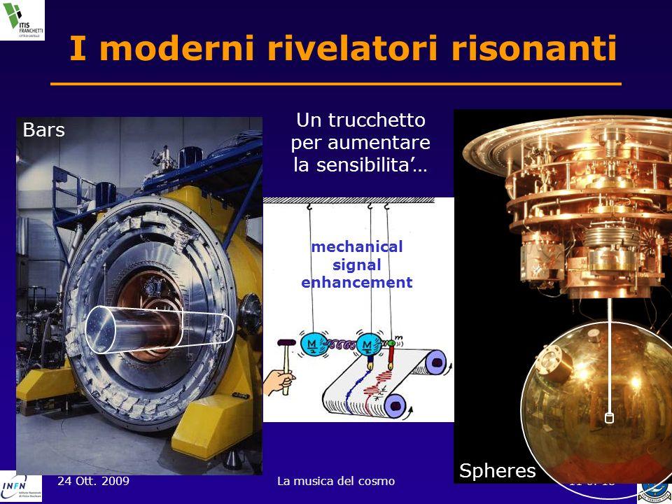 24 Ott. 2009La musica del cosmo11 of 18 Bars I moderni rivelatori risonanti Spheres Un trucchetto per aumentare la sensibilita… mechanical signal enha