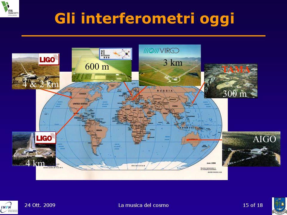 24 Ott. 2009La musica del cosmo15 of 18 Gli interferometri oggi TAMA 600 m 300 m 4 & 2 km 4 km AIGO 3 km