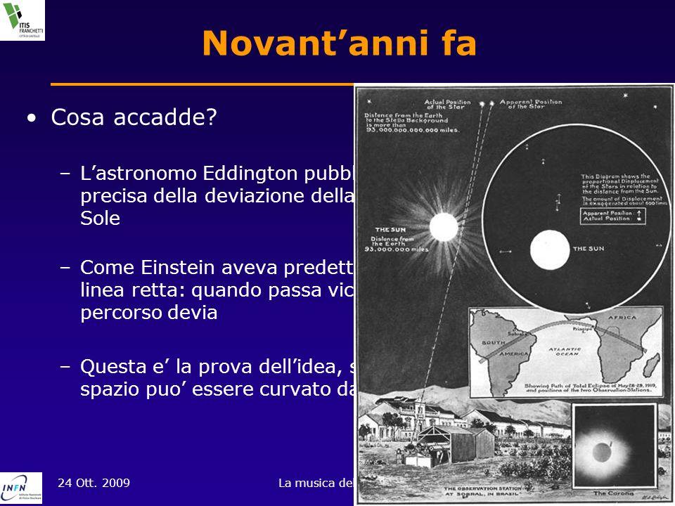 24 Ott. 2009La musica del cosmo3 of 18 Novantanni fa Cosa accadde? –Lastronomo Eddington pubblico i risultati della misura precisa della deviazione de
